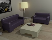 modern furniture set sofas 3d 3ds