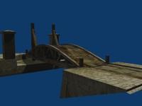 3d old medieval rotating bridge model