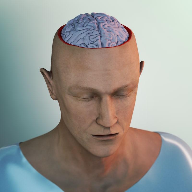 skull brain 3d lwo