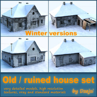 Old and ruined house set - winter version