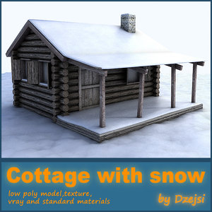 old wooden cottage snow 3d max
