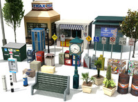 Street Furnture (low poly)