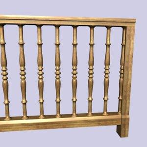 wooden baluster 3d 3ds