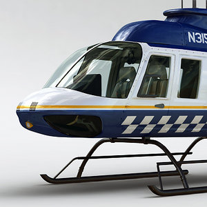 police bell 206l helicopter interior 3d model