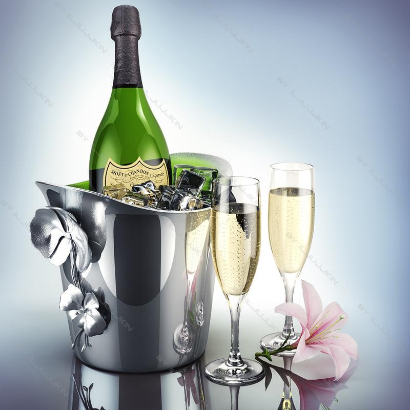 3d cooling champagne dom perignon model