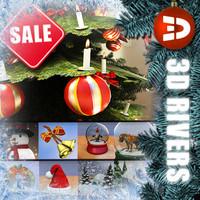 set christmas decoration 3d model