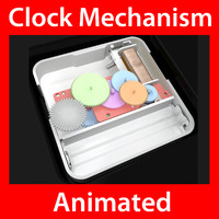 extremely clock mechanism animation 3d model