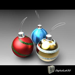 christmas ball decorations 3d model