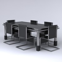 6 piece contemporary dining set 3d max