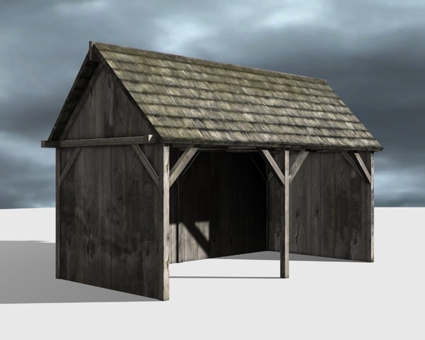 wooden shed 3d 3ds