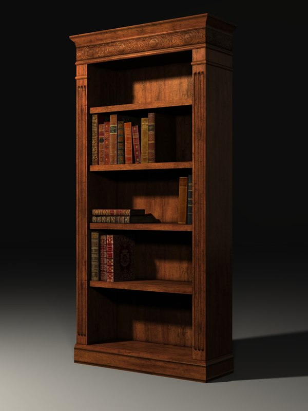 3d bookcase books model