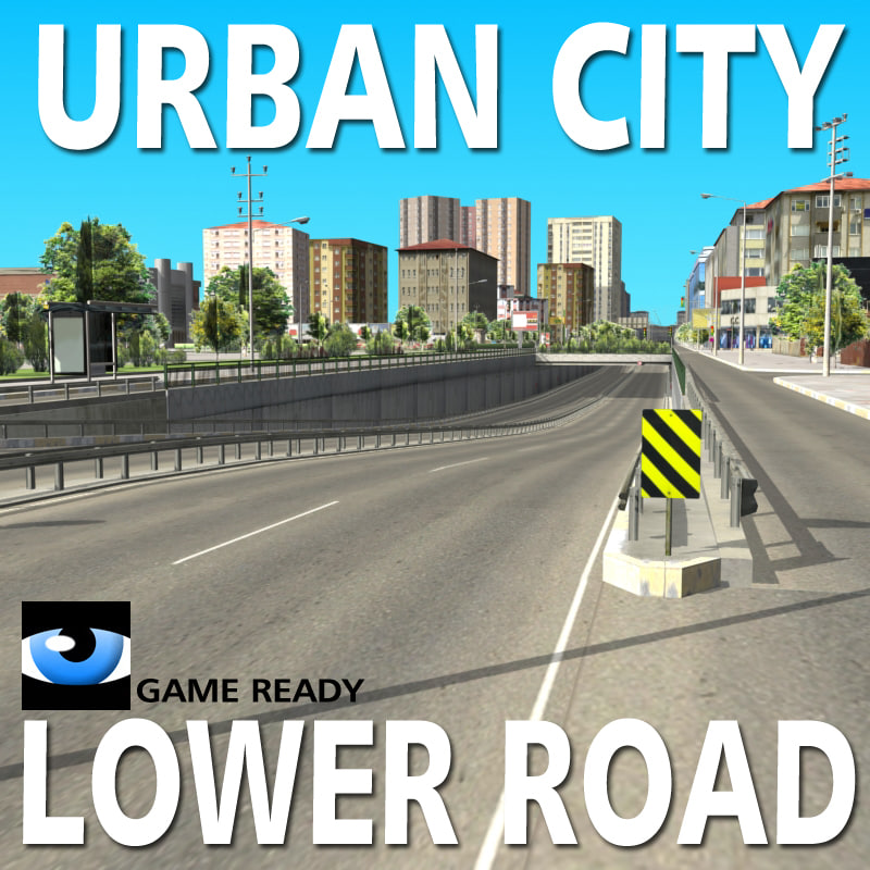 3d urban city lower road