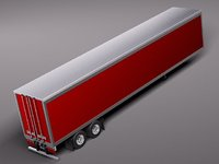 3d trailer truck semi cargo