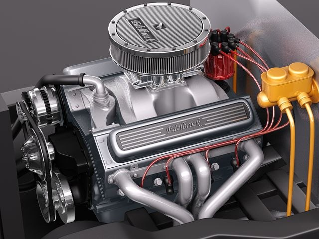 3d edelbrock crate engine v8 model