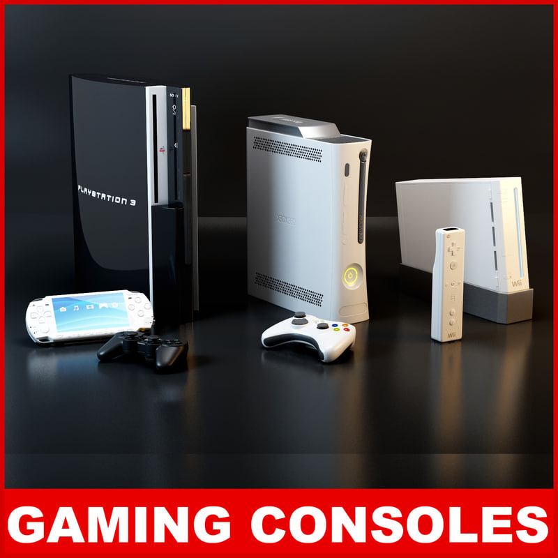 3d model of consoles microsoft xbox nintendo wii