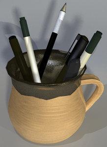 max assortment pens mug