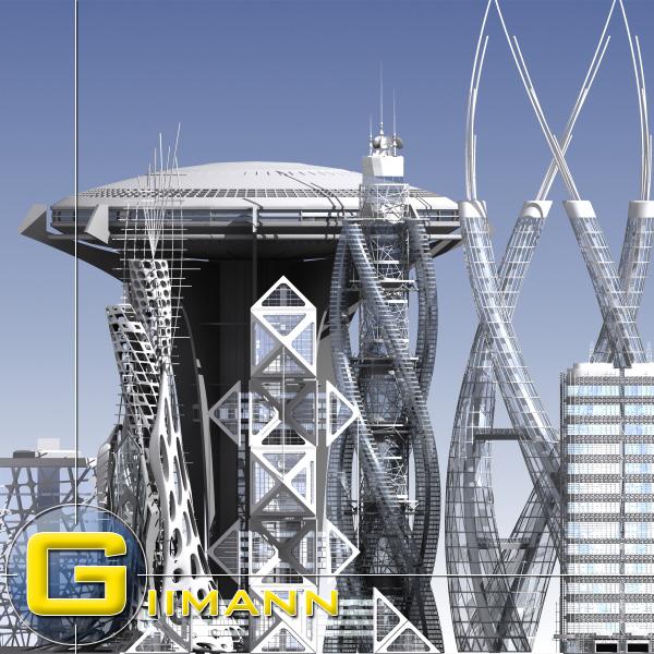 3d model modern skylines buildings