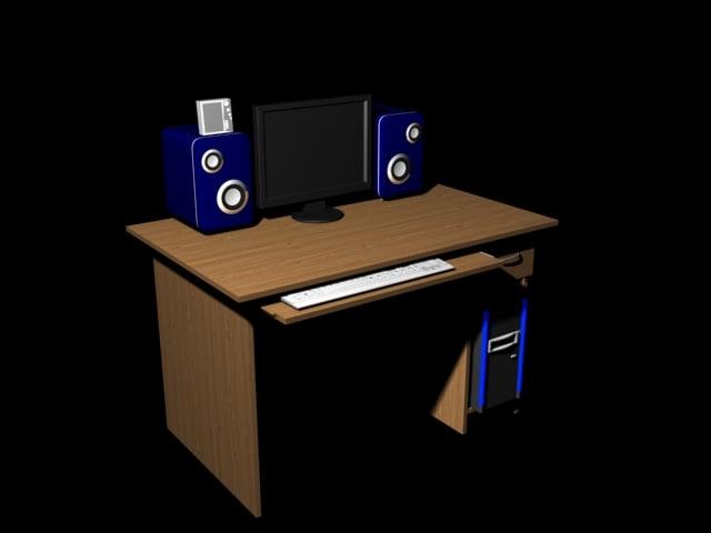 3ds desk keyboard monitor speakers