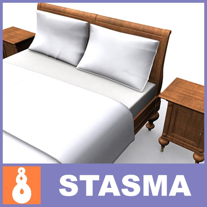 3d model realistic bed bedside tables