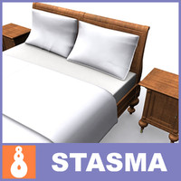 3d model realistic bed bedside tables