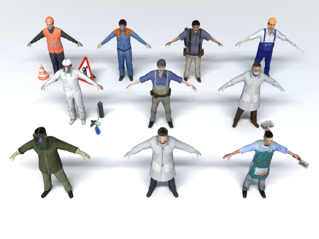 10 professions characters man 3ds