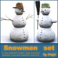 3d snowmens snowman broom model