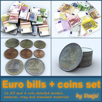 3d set euro coins bills