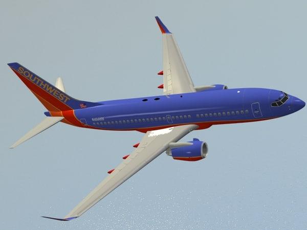 3d boeing 737-700 southwest airlines model