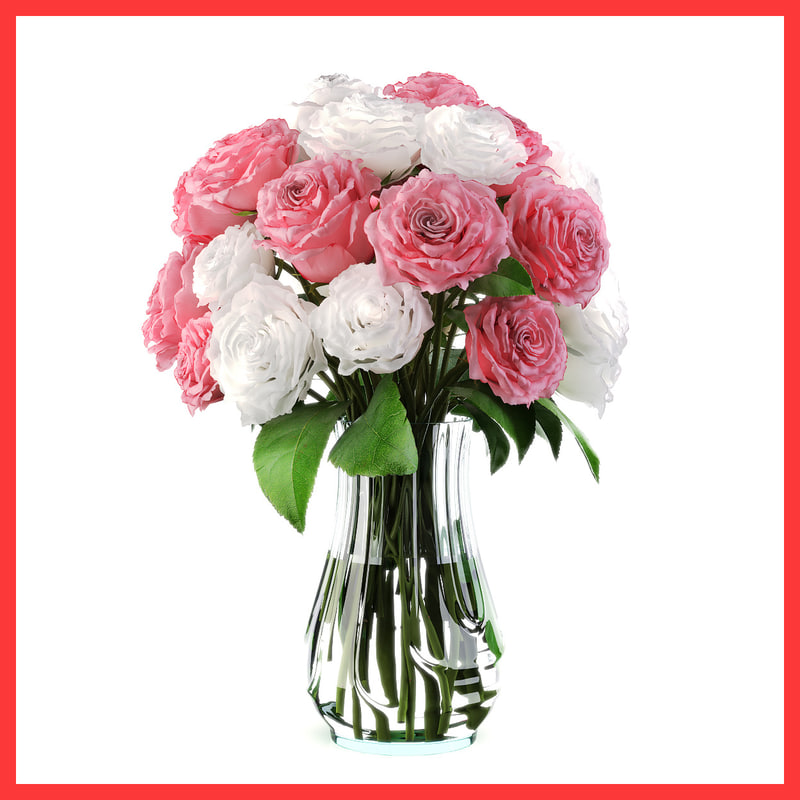 bouquet roses 3d model