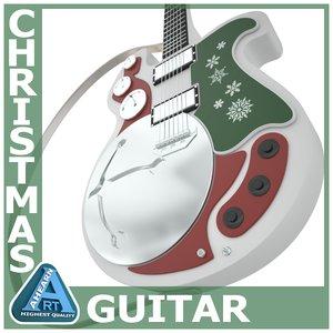 christmas guitar 3d model