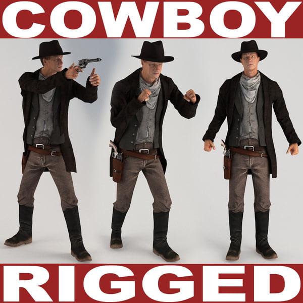 3d cowboy rigged model