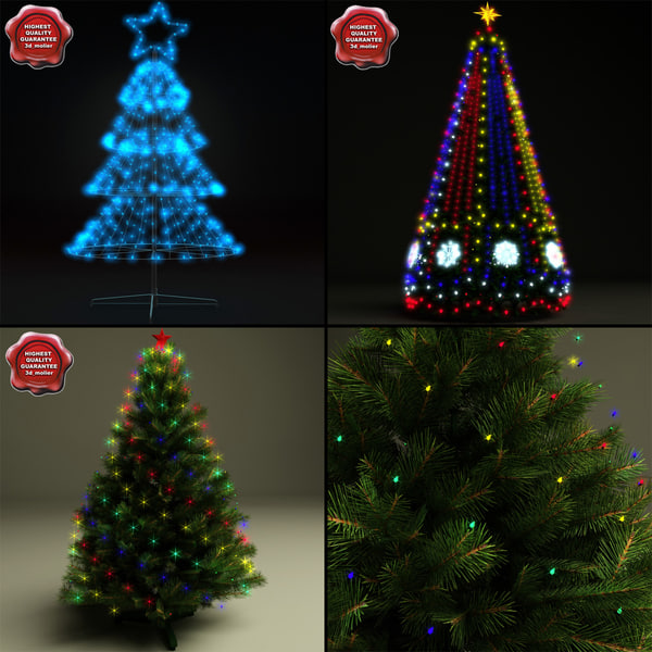 new year trees v4 3d model