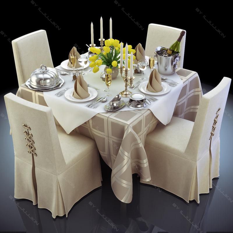 & 3d model set restaurant table completely