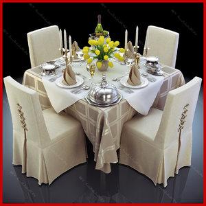 3d model set restaurant table completely