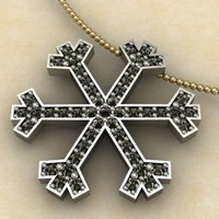 snow crystal pendant 3d 3dm