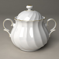 3d sugar pot porcelain
