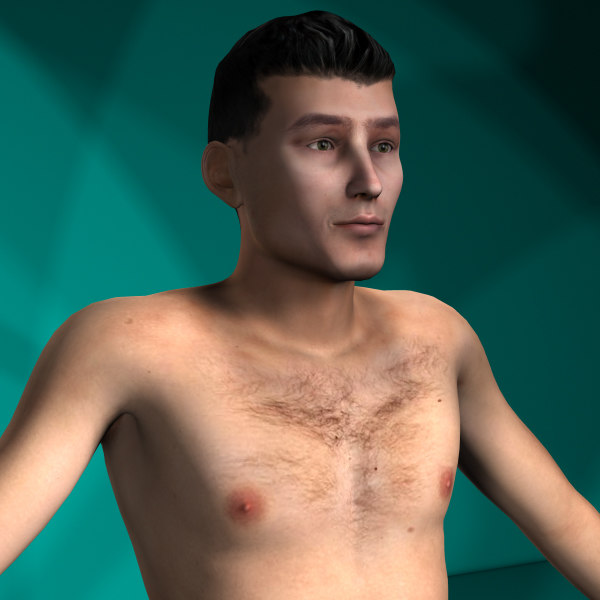 men rigged character 3d model