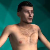 men rigged character 3d model