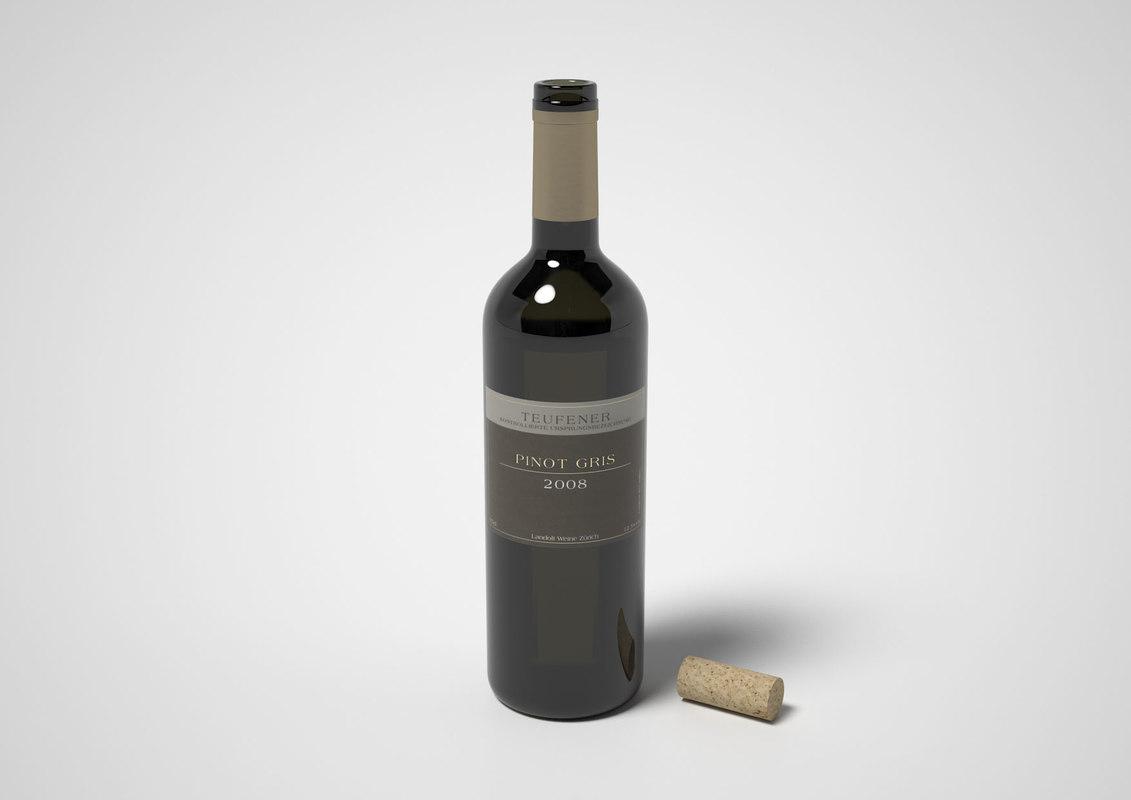 3d model of wine bottle