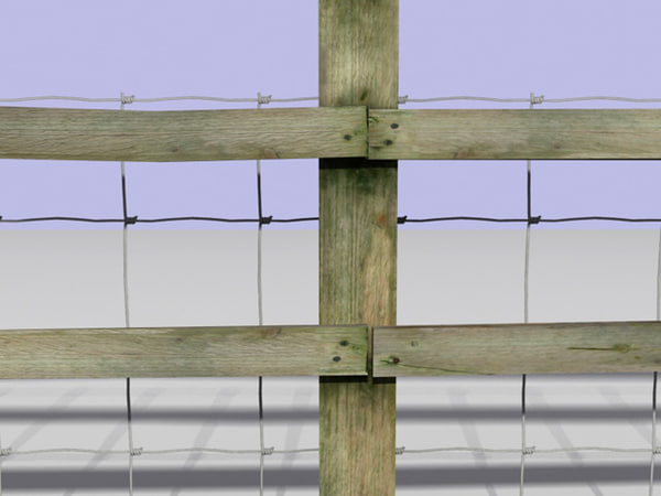 fence barbed wire 3d model