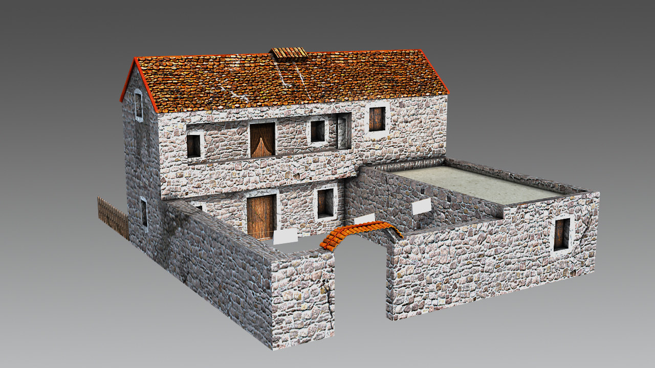 free obj mode historical ancient house