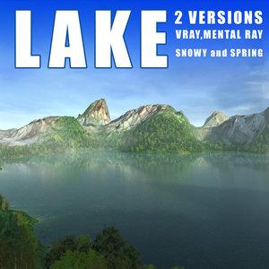 lake mountains landscape terrains 3d obj