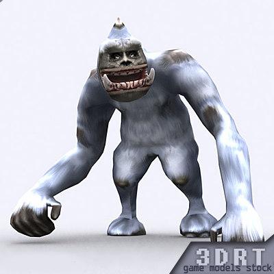 fantasy yeti monster animations 3d model