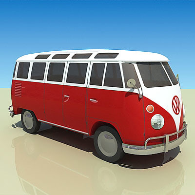3d low-poly microbus 1967 model