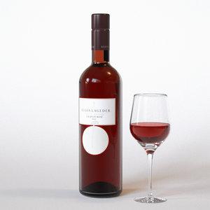 3ds max bottle wine rose