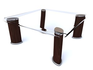 3d table glass coffee model