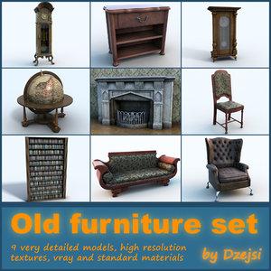 set old furniture sofa armchair 3d max