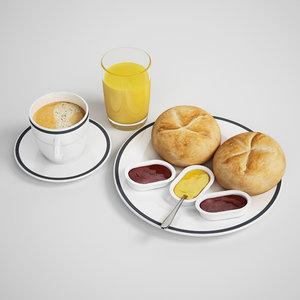3d continental breakfast model