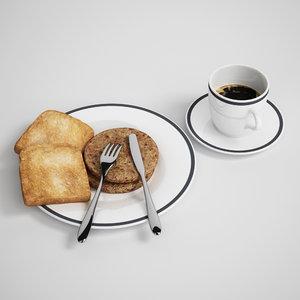 3d breakfast meal model