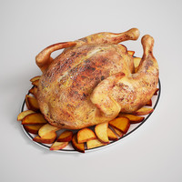 CGAxis 3D Model Roasted Chicken & Potatoes